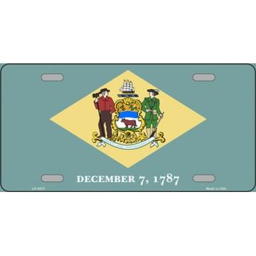 Delaware State Flag Metal License Plate
