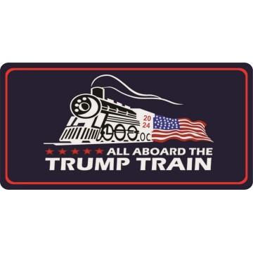 All Aboard The Trump Train 2024 Photo License Plate