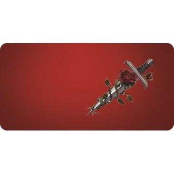Offset Dagger And Rose Red Photo License Plate