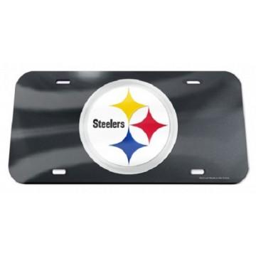 Pittsburgh Steelers Black Crystal Mirror Laser License Plate