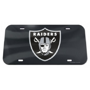 Oakland Raiders Black Crystal Mirror Laser License Plate