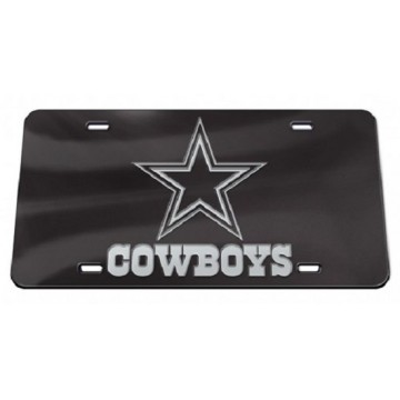 Dallas Cowboys Black Crystal Mirror Laser License Plate