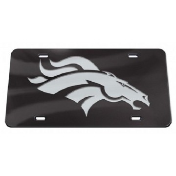 Denver Broncos Black Crystal Mirror Laser License Plate