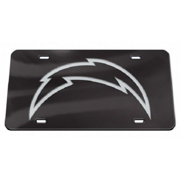 Los Angeles Chargers Black Crystal Mirror Laser License Plate