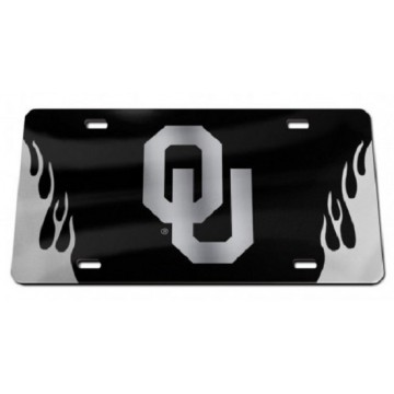 Oklahoma Sooners Black Crystal Mirror Laser License Plate