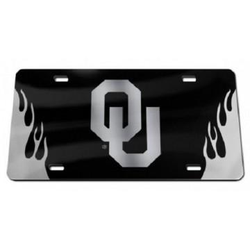 Oklahoma Sooners Black Crystal Mirror Laser License Plate