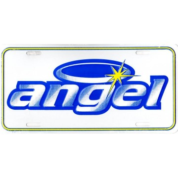 Angel Script With Halo Metal License Plate