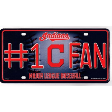 Cleveland Indians #1 Fan Metal License Plate