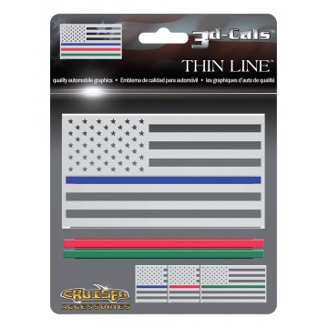 3D Cals Thin Line Chrome Plastic Decal