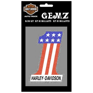 Harley-Davidson #1 American Flag Bling Decal
