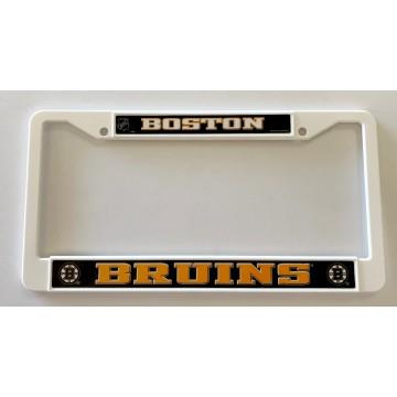 Boston Bruins White Plastic License Plate Frame