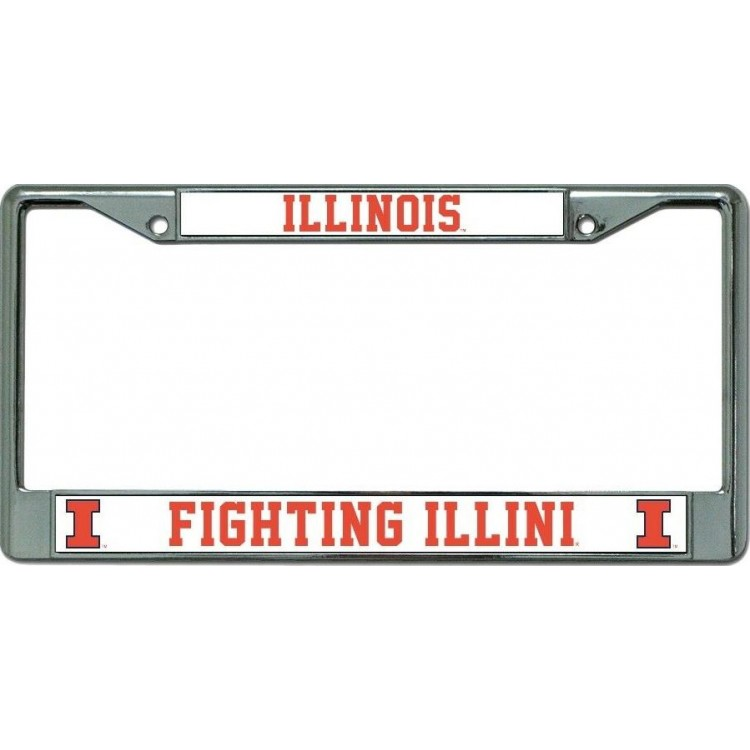 Illinois Fighting Illini Chrome License Plate Frame