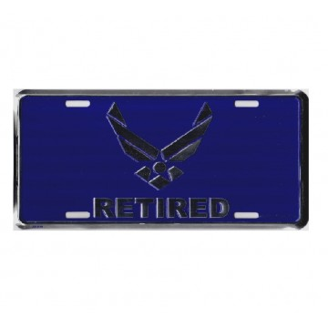 Air Force Retired Metal License Plate