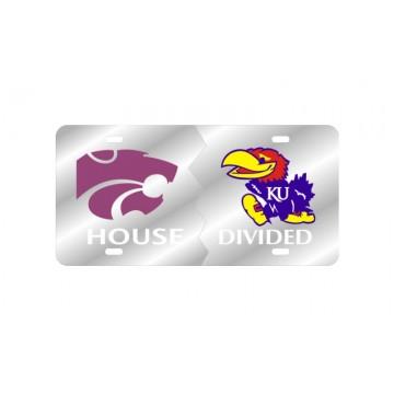Kansas State Wildcats / Kansas Jayhawks House Divided Silver Laser Plate
