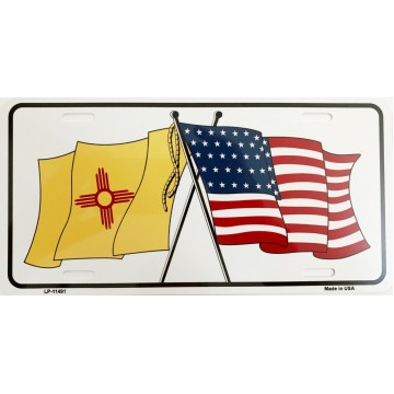 New Mexico Crossed U.S. Flag Metal License Plate