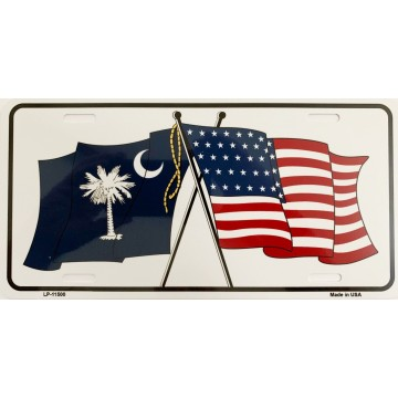 South Carolina Crossed U.S. Flag Metal License Plate