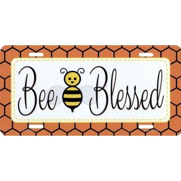 Bee Blessed Simple Metal License Plate