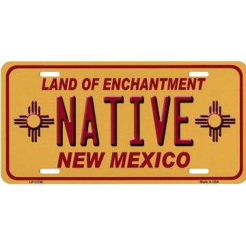 Native New Mexico Yellow Metal License Plate