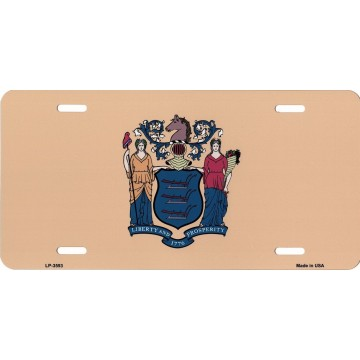 New Jersey State Flag Metal License Plate