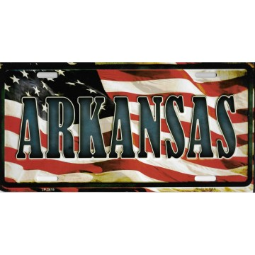 Arkansas On American Flag Metal License Plate