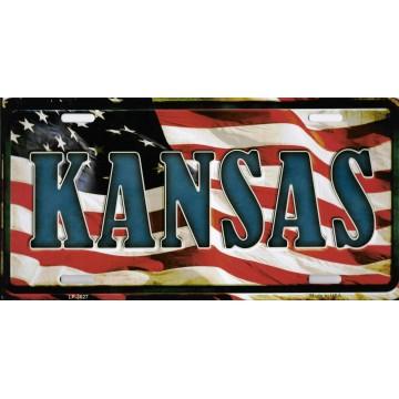 Kansas On American Flag Metal License Plate