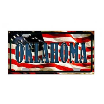 Oklahoma On U.S. Flag Metal License Plate