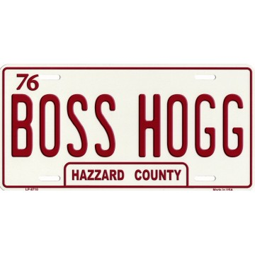 Boss Hogg Hazzard County Metal License Plate
