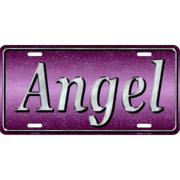 Angel Metal License Plate