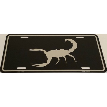 Scorpion Black Brushed Chrome Metal License Plate