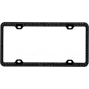 Black With Double Row Black Crystals License Plate Frame