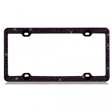 Black With Triple Row Purple Crystals License Plate Frame