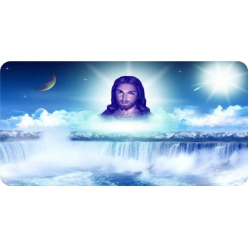 Jesus Waterfall Scene Photo License Plate