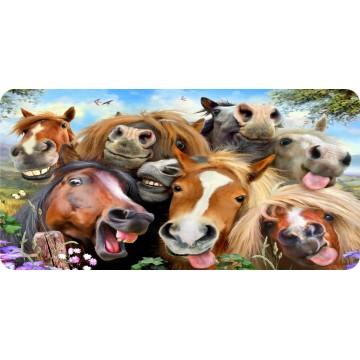 Horses Selfie Photo License Plate