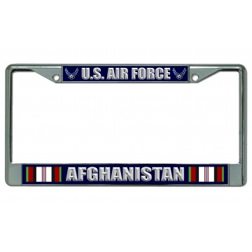 U.S. Air Force Afghanistan Chrome License Plate Frame