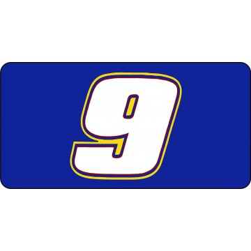 Nascar Racing #9 Blue Photo License Plate