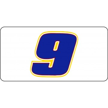 Nascar Racing #9 White Photo License Plate