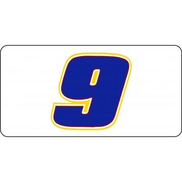 Nascar Racing #9 White Photo License Plate