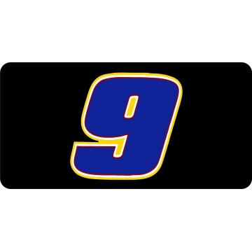 Nascar Racing #9 Black Photo License Plate