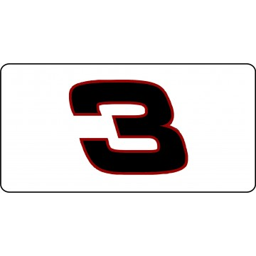 Nascar Racing #3 White Photo License Plate