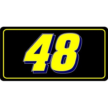 Nascar Racing #48 Thin Yellow Line Photo License Plate