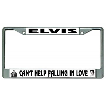 Elvis Can't Help Falling In Love Chrome License Plate Frame