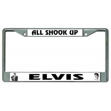 Elvis All Shook Up Chrome License Plate Frame