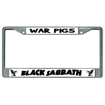 Black Sabbath War Pigs Chrome License Plate Frame
