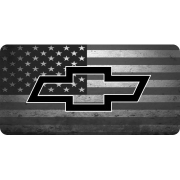 Chevy Bowtie On American Flag Photo License Plate