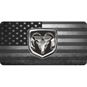 Dodge Ram Logo On American Flag Photo License Plate