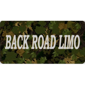 Back Road Limo On Camo Photo License Plate