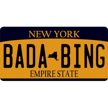 New York Bada Bing Photo License Plate