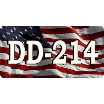 DD-214 Discharge Active Duty On U.S. Flag Photo License Plate