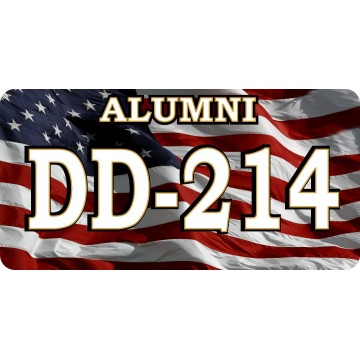 DD-214 Alumni Discharge Active Duty On Flag Photo License Plate