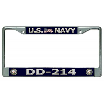 DD-214 U.S. Navy Chrome License Plate Frame